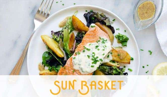 Gourmet fish meat in a plate labelled sun basket
