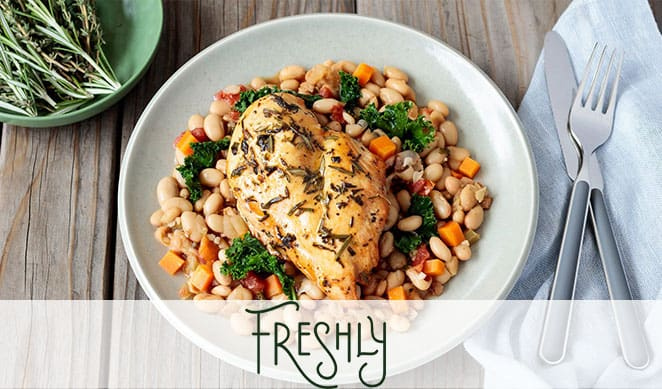 Chicken meal with nuts and beans by Freshly