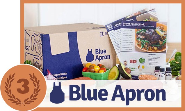 Box, flyers and fruits with Blue Apron seal