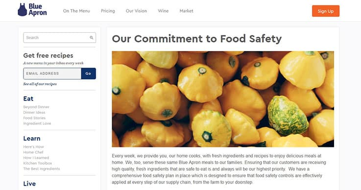 Blue Apron food safety