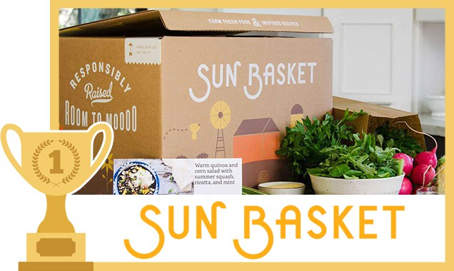 Sun Basket box surrounded by vegetables