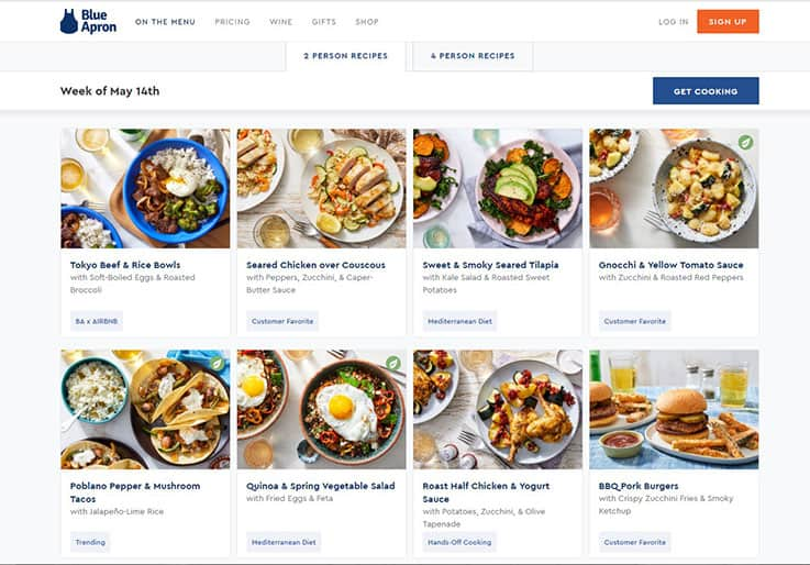 portions Blue Apron