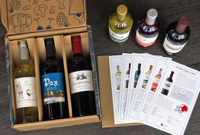 Boxed wines on the table