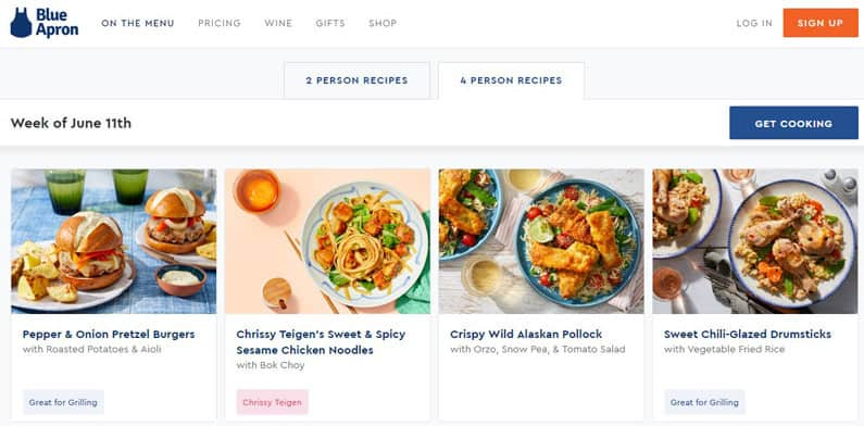 Blue Apron family menu