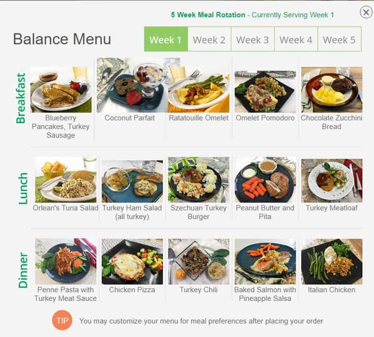Diet to go balance menu