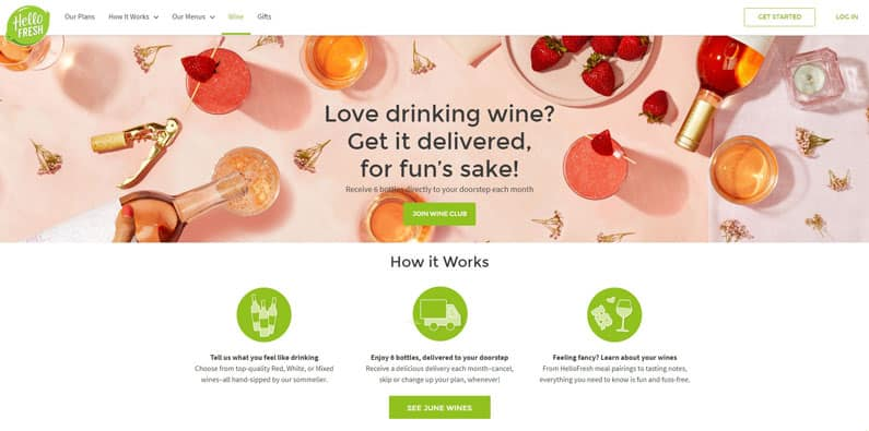 hello fresh wine plan delivery
