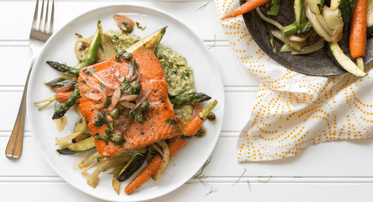 image of salmon green tahini