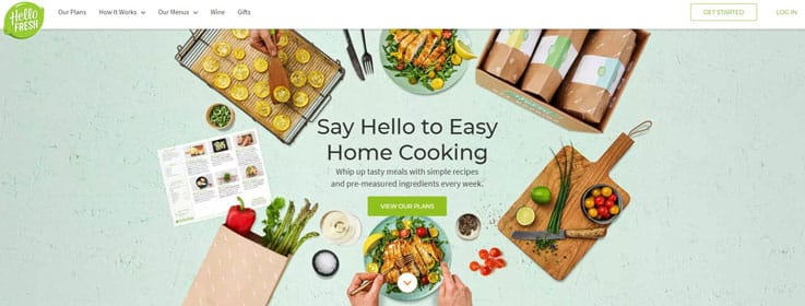Circle of hello fresh food, ingredients and small menu