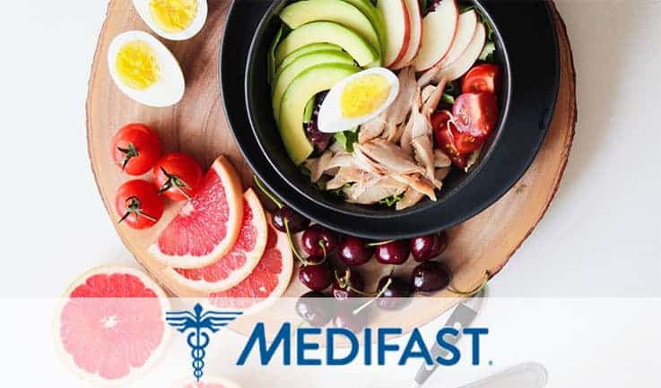Plating of fruits with some vegetables and the word medifast