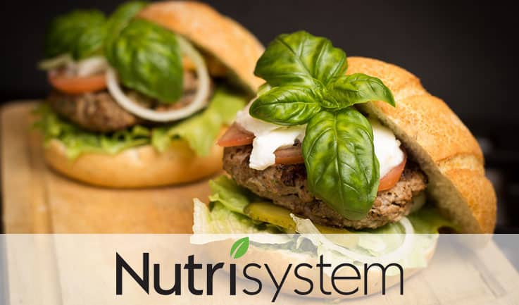 Burger with thick steak and leafy ingredients marked nutrisystem