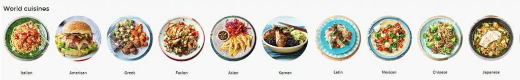 Different meals served from around the world