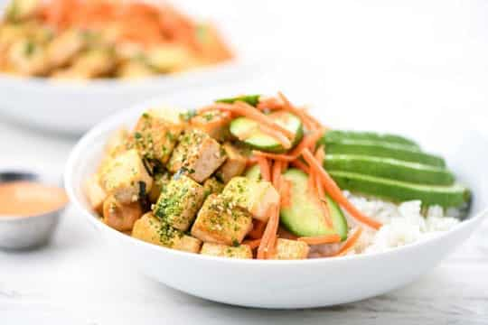Tofu with Avocado served toppings on Rice Bowl