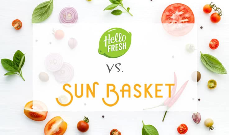 Scattered ingredients and the word hello fresh vs sun basket