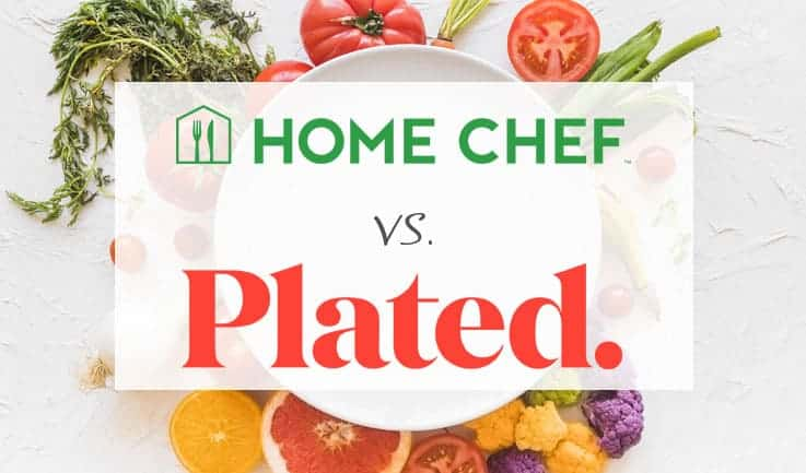 "Empty plate surrounded by vegetables with text saying ""home chef vs plated"""