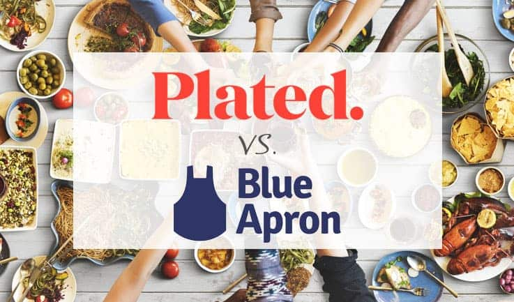 "Lots of food display, hands tend to have a cheers and text ""plated vs blue apron"""