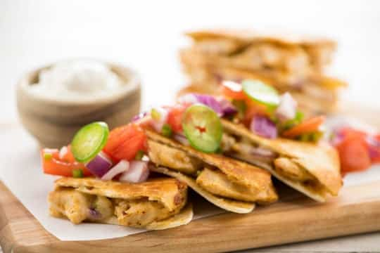 Serving of chicken quesadillas