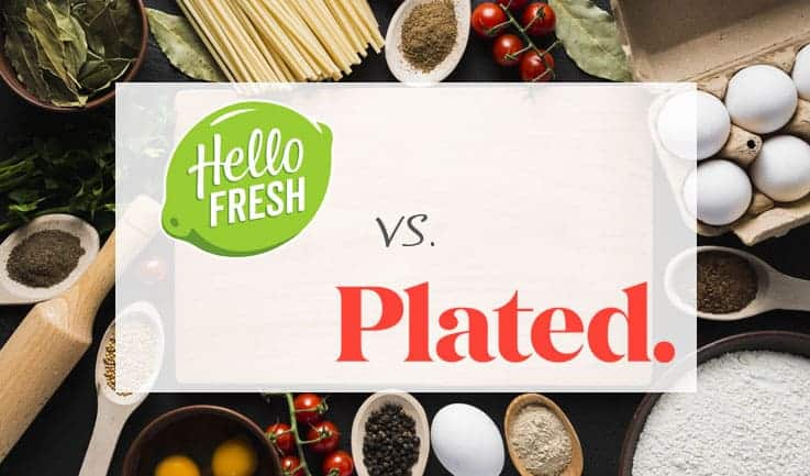 "The words ""hello fresh vs plated"" with Tray of eggs and other ingredients"