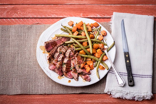 Pan-Seared Steak with Roasted Butternut Squash and Green Beans from Hello Fresh