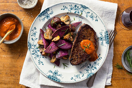 Steak with Purple Sweet Potatoes and Roasted Red Pepper Salsa by Sun Basket