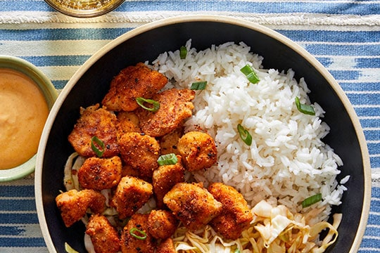 Togarashi popcorn chicken with sweet chili cabbage slaw by Blue Apron