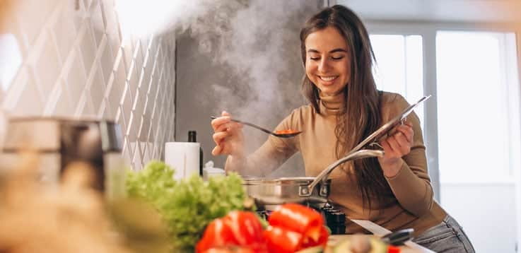 image of cute girl cooking
