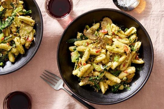 Creamy Pesto Cavatelli with Mushrooms Blue Apron recipe