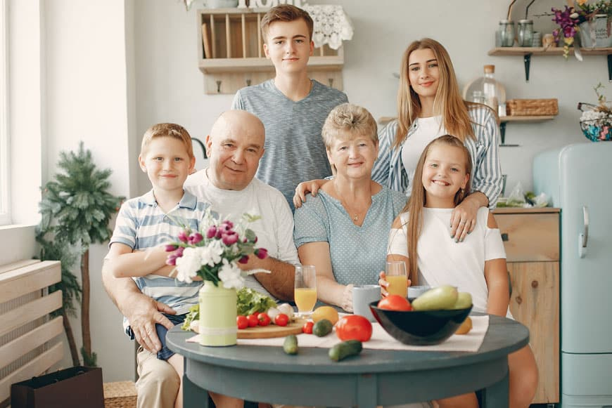 Image of family in the kitchen