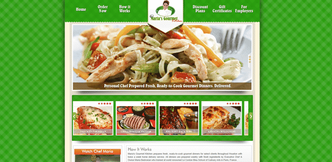 Maria's Gourmet Kitchen green homepage
