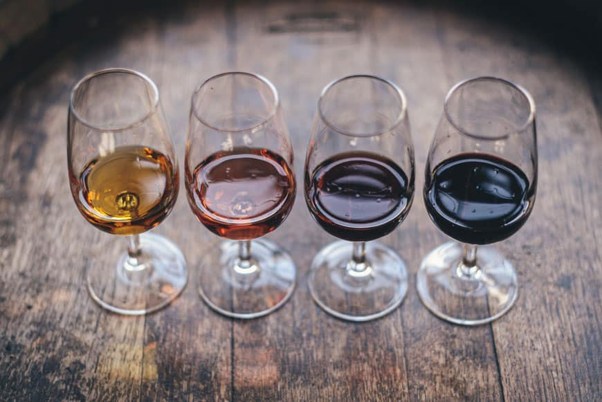 image of four glasses of wine