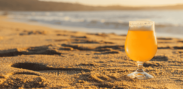image of beer and the beach