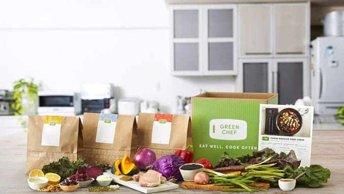 image of green chef box and food